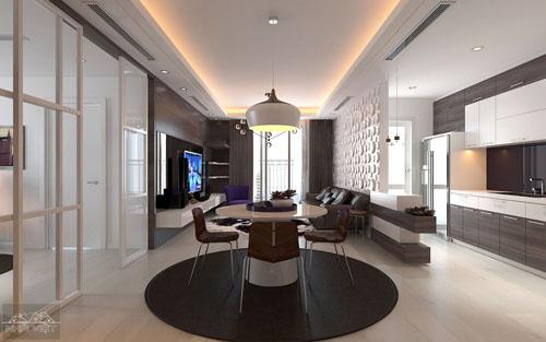 Nội thất chung cư Park Hill ấn tượng với mảng màu tối - căn 2512A
